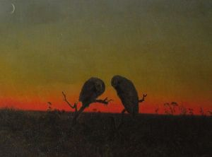 Martin_Johnson_Heade_-_Two_Owls_at_Sunset